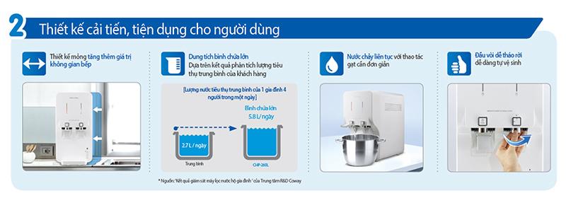 Đặc điểm của máy lọc nước nóng lạnh Coway NEO CHP-260L.